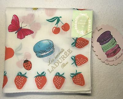 "Laduree Paris strawberry hadnkerchief cotton 100% 58x58cm(22.88"")made in Japan"