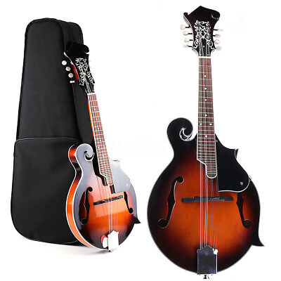 Paulownia Wood Solid F-Style Sunburst Mandolin 8 String 24 Fred with Case