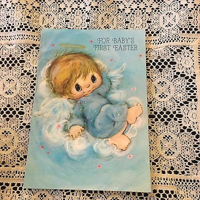 Vintage Greeting Card Baby 1st Easter Cute Girl Cloud Angel