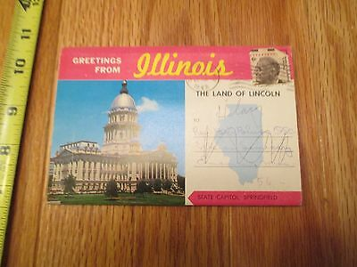 Greetings from Illinois IL travel Souvenir Folder Postcard
