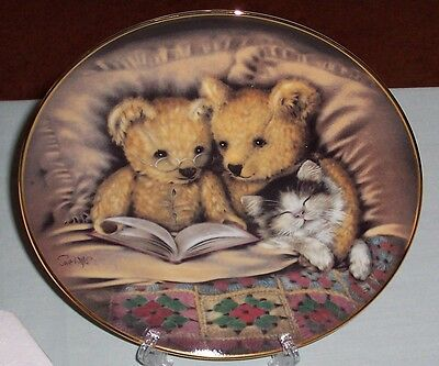 Franklin Mint BEDTIME STORY  Plate. Ltd Edition Teddy Bears & Kitten