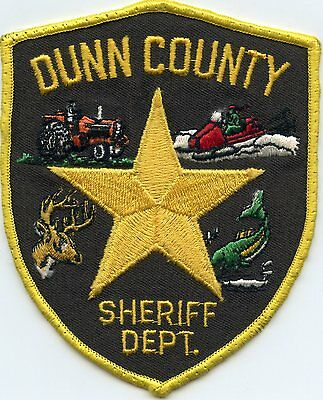 old vintage DUNN COUNTY WISCONSIN WI jumping fish SHERIFF POLICE PATCH