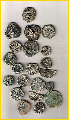 LOT  18 SPANISH COLONIAL PIRATE TREASURE COINS(b)CENTURIES XVI-XVII-XVIII-