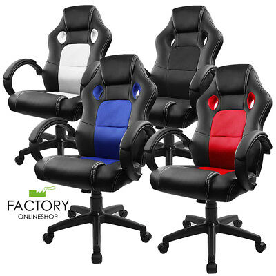Racing Style Ergonomic Computer Desk High Back Bucket Seat Gaming Office Chairs
