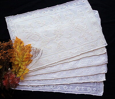 SET of 6 Antique Handmade Lace Placemats Rustic Italian Pulled-Thread Embroidery