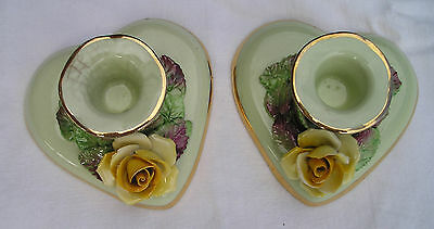 Vintage CROWN CHINA ENGLAND Handmade Painted Gold Edge CANDLE HOLDERS