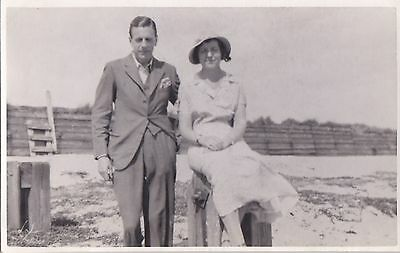 Vintage Photo Glamour Woman Hat Handsome Man Beach Fashion Ma128