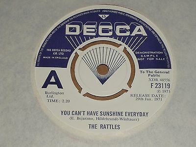 """Rattles """"You Can't Have Sunshine Everyday"""" Decca Demo MINT 45"""