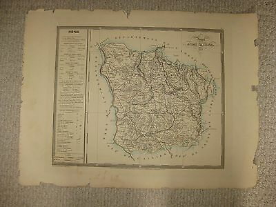 Huge Antique 1833 Nievre Nevers France Handcolored Folio Size Map Superb Rare Nr