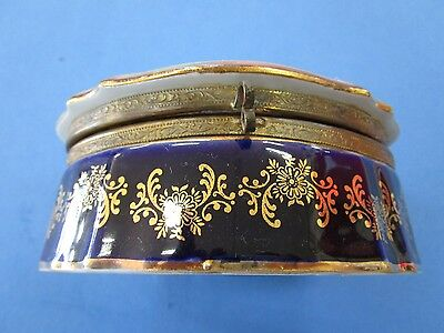 Vintage German Large Hand Painted Ceramic Trinket Box