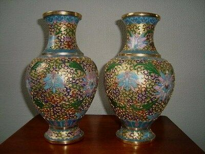 Pair Of Chinese Cloisonne Vases With Enamel Brass