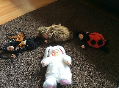 4 cute Anne Geddes baby dolls, butterfly, hedgehog, ladybird & rabbit