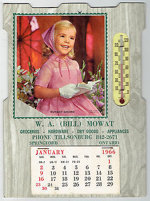 1968 W A (Bill) Mowat Calendar with Thermometer - Springford, Ontario