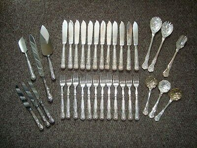 Lot Silver & Silver Plate - Set Fish Knives Forks & Other Cutlery Kings Pattern