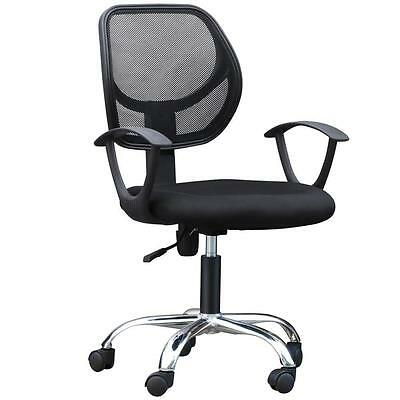 Seat Height Adjustment Executive Office Chair Chrome Mesh Computer Chair Black
