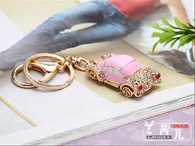 lovely car Key chain Keyring bag chain Rhinestone  Charm Pendant Keyfob Keychain