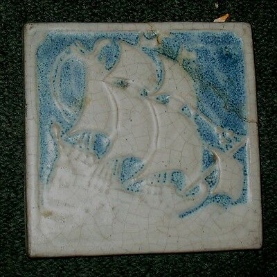 Marblehead art pottery tile SHIP blue & white