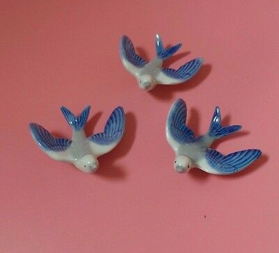 Wade Flying Swallows Birds Blue Set Of Three