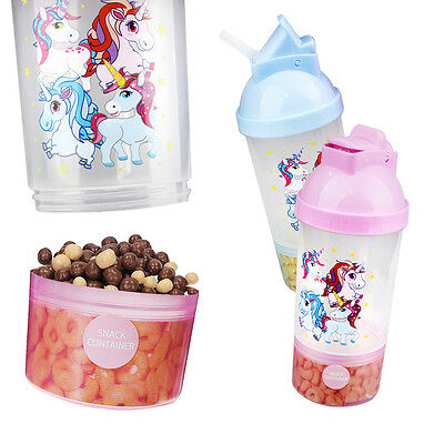 Kids Drinks Bottle Travel Sippy Cup Cereal Milk Juice Straw Snacks Container