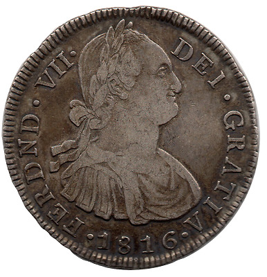 Colombia - Popayan - 8 Reales Silver Coin - Km # 71 - Xf/au - 1816 F - Very Rare