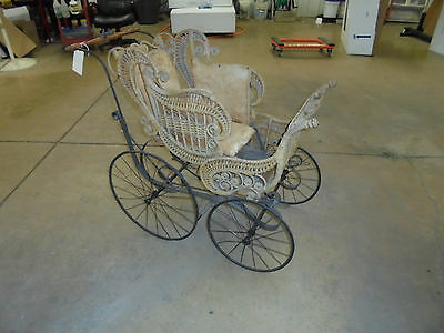 Antique Victorian Wicker Baby Carriage, Stroller, Buggy Very Ornate