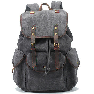 Men's Canvas Gary Shoulder Casual School Military Messenger Travel Backpack Bag