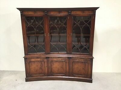 Bevan & Funnell Reprodux Mahogany Concave Library Bookcase 6 Door Astral Glazed