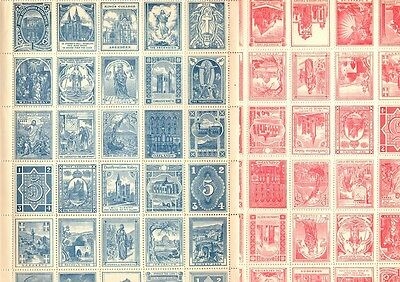 Cinderellas - 3 sheets of Sunday School stamps - 30/sheet - early 20th Century
