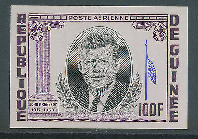 2304 GUINEA 1964 J.F. Kennedy 100 Fr. U/M MAJOR VARIETY: IMPERF + MISSING RED