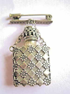 Antique French silver turquoise glass perfume scent bottle fob brooch pin.