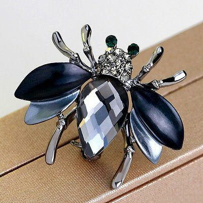 3D Insect Bee Crystal Brooch Pin Women Lady Costume Valentine day Gift Jewellery