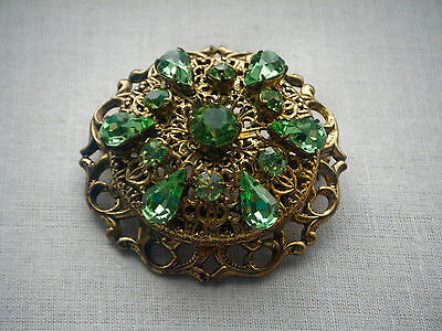 Vintage Czech large filigree green glass stones brooch pin C1940/50s