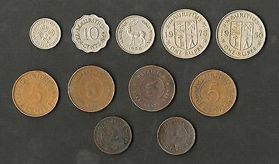 Mauritius 11 Different Old Coins ( 1883 - 1975 )