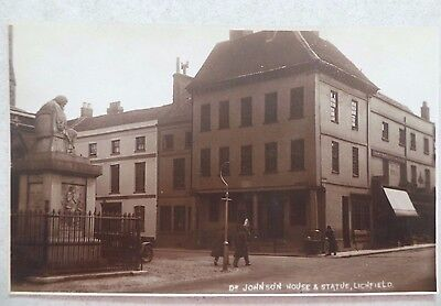 Postcard Real Photo - Dr. Johnsons House & Statue, Lichfield, Staffordshire