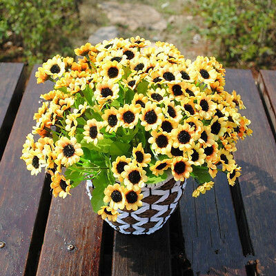 14 Head Fake Sunflower Artificial Silk Flower Bouquet Home Wedding Floral Decor