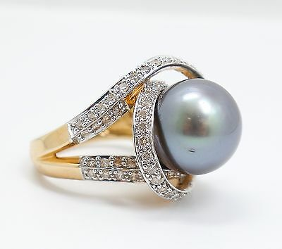Fine Estate Found 12.7mm Tahitian Black Pearl Diamond 14K Yellow Gold Ring