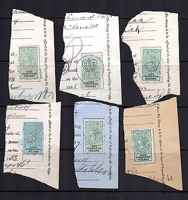 GB REVENUE QV Land Commission Ireland x 6 on large piece Crown ILC Perfin can