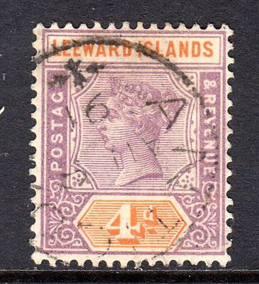 Leeward Islands QV 1890  4d Dull Mauve & Orange SG4 Used