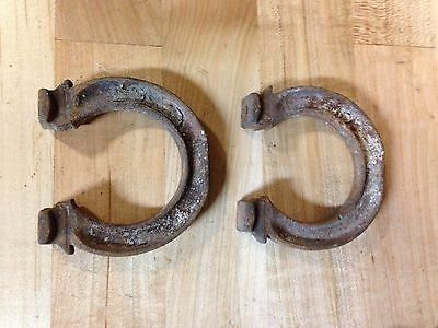 2 Antique  Vintage Cast Iron Horse Shoe Bed Frame Bracket Parts