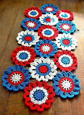 Handmade Crocheted Patriotic Flower Table Runner Doily 28 inches by 12 inches