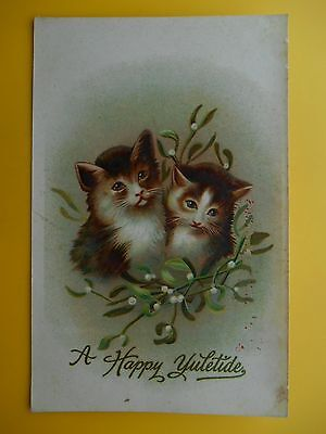 Cats Kittens Christmas Mistletoe *Vintage* Misch & Co Puss at Xmas c1910