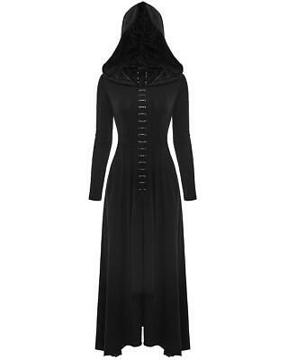 Punk Rave Dark Arts Dress Long Black Hooded Gothic Witch Occult Cloak