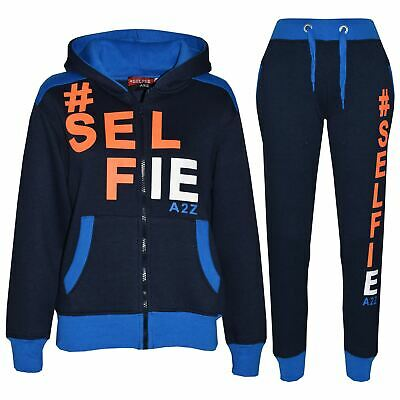 Kids Tracksuit Boys Girls Designer's #Selfie Jogging Suit Hoodie Top Bottom 7-13