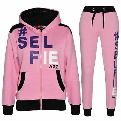 Kids Tracksuit Girls Designer's #Selfie Jogging Suit Hoodie Top Bottom 7-13 Year