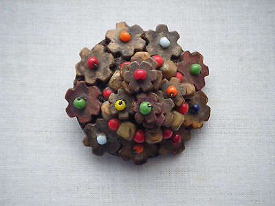 Vintage brooch pin Czechoslovakia  Wooden with glass beads Signed  C1940s