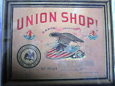 Vintage 1925 UNION BARBERSHOP Clear Framed Color Govering Rules On Back Sign