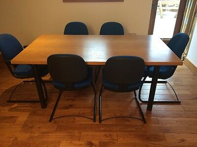 Office Meeting Oak Table & 6 Chairs - Blue 2 With Arms. Very Comfy Chairs
