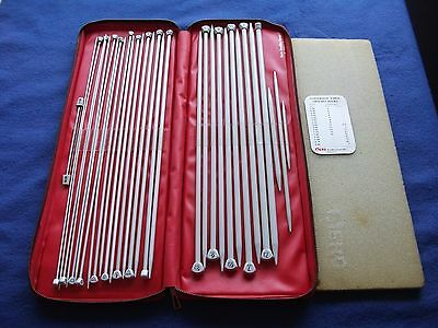 Red Aero Knitting Needle Case With Full Set Of Aero Knitting Needles Etc.