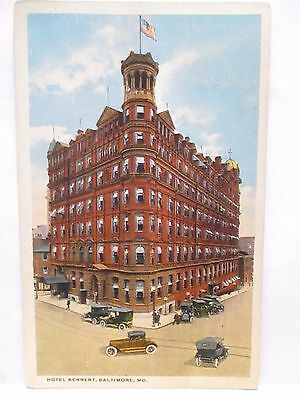 """1919 Postcard  """" Hotel Rennert, Baltimore Md . """" W/ Cars Posted Baltimore Md"""