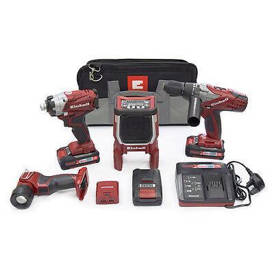 Einhell Cordless 18V Lithium Ion Combi Drill Impact Driver Radio Torch Bag Kit